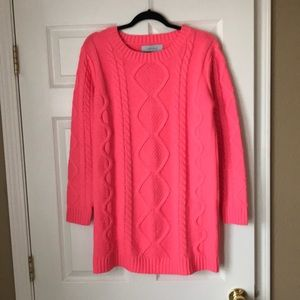 Listicle Pink cable knit tunic sweater